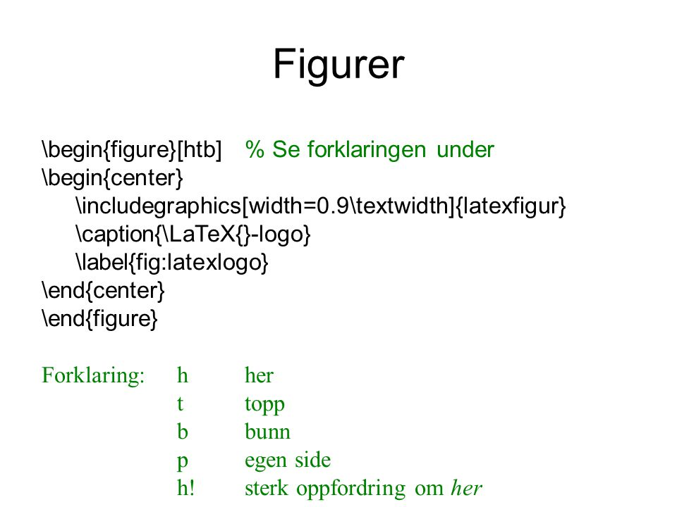 Figurer \begin{figure}[htb] % Se forklaringen under \begin{center}